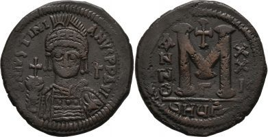 Byzantine Empire Justinian I Follis of Theoupolis (Antioch)